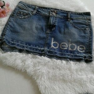 Bebe Distresed Denim Mini Skirt Large